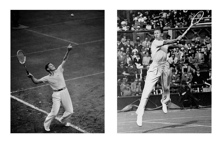 A sinistra: il barone Gottfried von Cramm esegue il suo colpo più celebre, il servizio. A destra, Don Budge alle prese con una volée di rovescio. Nel 1937, i due diedero vita a una delle più memorabili partite di tennis della storia