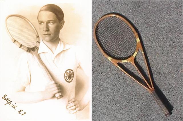 A sinsitra: un'immagine giovanile di von Cramm. A destra: una speciale racchetta di legno disegnata da un altro tennista dell'epoca, il britannico Bunny Austin