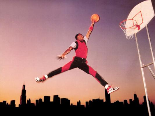 La foto di Jordan usata per il logo Jumpman